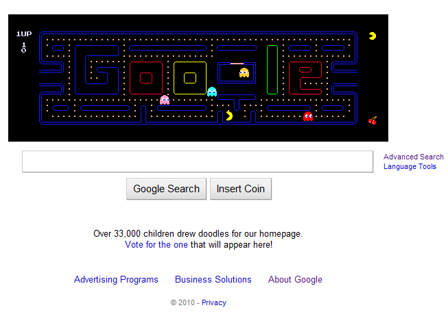 May 21 2010 Google Pac man Banner