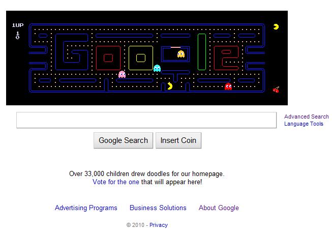 May 21 2010 Google Pac man Banner