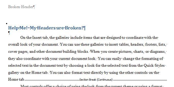 how to insert section break in header